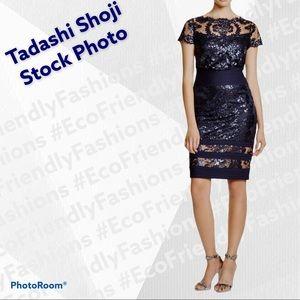 Tadashi Shoji Sequin Embroidered Blouson Dress